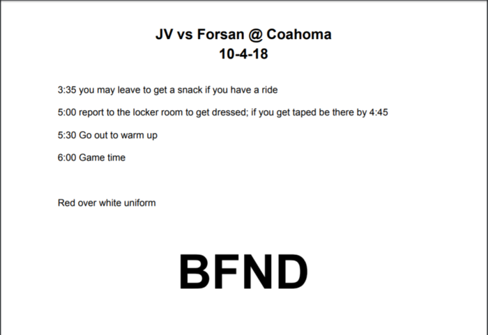 JV Football Itinerary