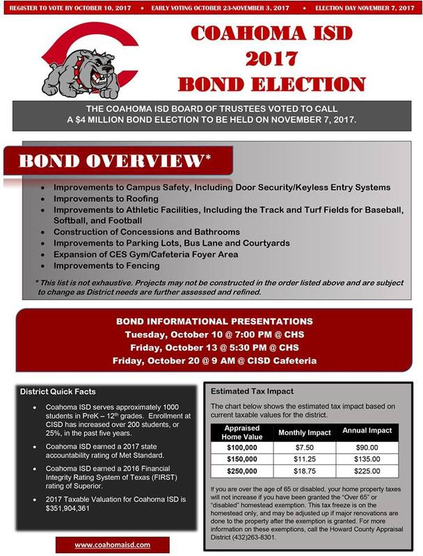 Coahoma ISD 2017 Bond Election